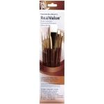 Princeton™ RealValue™ Watercolor Acrylic and Tempera White Taklon Brush Set; Length: Short Handle; Material: Taklon; Shape: Liner, Round, Shader, Wash; Type: Acrylic, Tempera, Watercolor; (model 9140), price per set