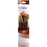 Princeton™ RealValue™ Watercolor Acrylic and Tempera Brush Golden Taklon Set; Length: Short Handle; Material: Taklon; Shape: Angular, Liner, Round, Wash; Type: Acrylic, Tempera, Watercolor; (model 9143), price per set