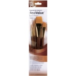Princeton™ RealValue™ Watercolor Acrylic and Tempera Brush Golden Taklon Set; Length: Short Handle; Material: Taklon; Shape: Round, Wash; Type: Acrylic, Tempera, Watercolor; (model 9146), price per set
