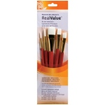 Princeton™ RealValue™ Watercolor Acrylic and Tempera White Taklon Brush Set: Short Handle, Taklon, Angular Shader, Liner, Round, Wash, Acrylic, Tempera, Watercolor, (model 9151), price per set