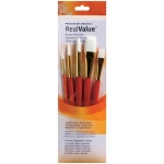 Princeton™ RealValue™ Watercolor Acrylic and Tempera White Taklon Brush Set; Length: Short Handle; Material: Taklon; Shape: Round, Stroke, Wash; Type: Acrylic, Tempera, Watercolor; (model 9152), price per set