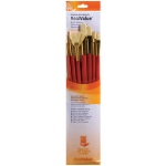 Princeton™ RealValue™ Oil Acrylic and Stain Natural Bristle Brush Set: Long Handle, Bristle, Natural, Angular, Bright, Fan, Filbert, Flat, Round, Acrylic, Oil, Stain, (model 9154), price per set