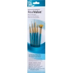 Princeton™ RealValue™ Watercolor Acrylic and Tempera Golden Taklon Brush Set; Length: Short Handle; Material: Taklon; Shape: Fan, Liner, Round; Type: Acrylic, Tempera, Watercolor; (model 9170), price per set