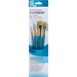 Princeton™ RealValue™ Watercolor Acrylic and Tempera Golden Taklon Brush Set; Length: Short Handle; Material: Taklon; Shape: Flat, Round, Wash; Type: Acrylic, Tempera, Watercolor; (model 9171), price per set