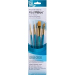 Princeton™ RealValue™ Watercolor Acrylic and Tempera Golden Taklon Brush Set; Length: Short Handle; Material: Taklon; Shape: Liner, Round, Shader, Wash; Type: Acrylic, Tempera, Watercolor; (model 9172), price per set