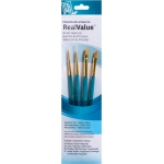 Princeton™ RealValue™ Watercolor Acrylic and Tempera Golden Taklon Brush Set; Length: Short Handle; Material: Taklon; Shape: Liner, Round; Type: Acrylic, Tempera, Watercolor; (model 9173), price per set