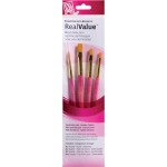 Princeton™ RealValue™ Watercolor Acrylic and Tempera Golden Taklon Brush Set; Length: Short Handle; Material: Taklon; Shape: Round, Shader; Type: Acrylic, Tempera, Watercolor; (model 9181), price per set