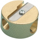 Alvin® Solid Brass Double-Hole Round Pencil Sharpener ; Color: Metallic; Holes: One; Material: Brass; Quantity: 12-Box; Type: Manual; (model 9867), price per dozen (12-pack)