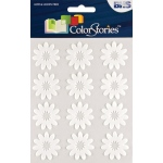 """Blue Hills Studio™ ColorStories™ Flocked Daisy Stickers White; Color: White/Ivory; Material: Flock; Size: 4 3/4"""" x 5 3/4""""; Type: Flat; (model BHS10706), price per each"""