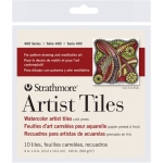 "Strathmore® 4"" x 4"" Watercolor Artist Tiles; Color: White/Ivory; Format: Tile; Quantity: 10 Tiles; Size: 4"" x 4""; Texture: Cold Press; Type: Watercolor; Weight: 140 lb; (model ST105-971), price per 10 Tiles"