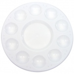 "Heritage Arts™ 10-Well Plastic Palette Without Lid: White/Ivory, Plastic, 10 Wells, Round, 6 3/4"", Tray, (model HPP6), price per each"
