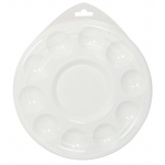 "Heritage Arts™ 10-Well Plastic Palette With Lid: White/Ivory, Cover, Plastic, 10 Wells, Round, 6 3/4"", Tray, (model HPP6-L), price per each"