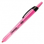 Sharpie® Smear Guard® Fluorescent Pink Retractable Highlighter; Color: Red/Pink; (model SN24689), price per each