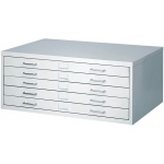 "Safco® Facil™ Small Flat File Cabinet: Black/Gray, Steel, 5-Drawer, 26""d x 40 1/4""w x 16 1/2""h, (model 4969), price per each"
