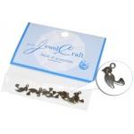 Jewel Craft Flat Bird Charm: Nickel, Pack of 8