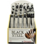 Dynasty® Black Steel Synthetic Oil and Acrylic Brush Display Assortment: Long Handle, Synthetic Bristle, Multi, (model FM22860D), price per each