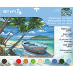 "Reeves™ Large Acrylic Painting By Numbers Set Tropical Beach; Board Size: 12"" x 15 1/2""; (model PL104), price per each"