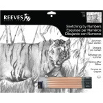 "Reeves™ Large Sketching By Numbers Tiger; Color: Black/Gray; Size: 12"" x 15""; (model PPSK10), price per each"