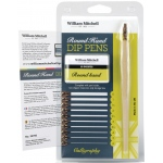 William Mitchell Round Hand Dip Pen Set: Nibs Included, Pen Holder, Assorted, Round Nib, Pen Holder & Nib Sets, (model WM35766), price per set