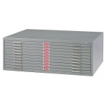 "Safco Steel Flat File: 10 Drawers, Gray, 16 1/2"" x 46 3/8"" x 35 3/8"""