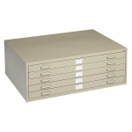 "Safco Steel Flat File: 5 Drawers, Sand, 16 1/2"" x 46 3/8"" x 35 3/8"""