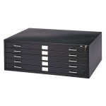 "Safco® 5-Drawer Black Steel Flat File: 1000 Sheets, 500 Sheets, 750 Sheets, Black/Gray, Steel, 5-Drawer, 41 3/8""d x 53 3/8""w x 16 1/2""h, (model 4998B), price per each"