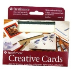 "Strathmore® 3.5 x 4.875 White/Red Deckle Creative Cards: Red/Pink, White/Ivory, Envelope Included, Card, 10 Cards, 3 1/2"" x 4 7/8"", 80 lb, (model ST105-9), price per 10 Cards"