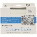 "Strathmore® 5 x 6.875 White/Blue Deckle Creative Cards 20-Pack; Color: Blue, White/Ivory; Envelope Included: Yes; Format: Card; Quantity: 20 Cards; Size: 5"" x 6 7/8""; Weight: 80 lb; (model ST105-35), price per 20 Cards"