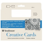 "Strathmore® 3.5 x 4.875 Palm Beach/Plain Edge Creative Cards: Blue, White/Ivory, Envelope Included, Card, 10 Cards, 3 1/2"" x 4 7/8"", 80 lb, (model ST105-4), price per 10 Cards"