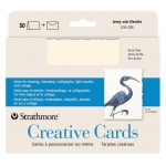 "Strathmore® 5 x 6.875 Ivory/Deckle Creative Cards 50-Pack: White/Ivory, Envelope Included, Card, 50 Cards, 5"" x 6 7/8"", 80 lb, (model ST105-235), price per 50 Cards"