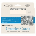 "Strathmore® 5 x 6.875 White/Black Deckle Creative Cards 20-Pack; Color: Black/Gray, White/Ivory; Envelope Included: Yes; Format: Card; Quantity: 20 Cards; Size: 5"" x 6 7/8""; Weight: 80 lb; (model ST105-17), price per 20 Cards"