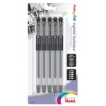 Pentel® Hybrid Technica™  Pigmented Archival Roller System Pens 5-Piece Set; Color: Black/Gray; Ink Color: Black/Gray; Ink Type: Pigment; Type: Rollerball; (model KN10BP5A), price per set