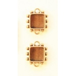 Ranger - ICE Resin - Mixed Metal Bezels - Hobnail Square - Small - Antique Brass - 2 Bezels