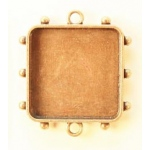 Ranger - ICE Resin - Mixed Metal Bezels - Hobnail Square - Medium - Antique Brass - 1 Bezel