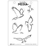 Ranger - Dina Wakley Media - Cling Stamps - Scribbly Birds in Flight
