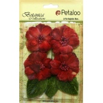Petaloo - Vintage Velvet Peonies x 4 - Red