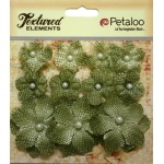 Petaloo - Mini Burlap x 11 - Antique Green