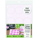 Glitter Prints - Inkjet Printable Glitter Tags - White Scallop Circle