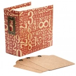 Graphic 45 - Staples - Square Tag & Pocket Album - Red Numbers