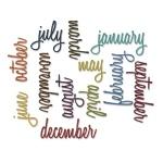Sizzix - Tim Holtz Alterations - Thinlits - Calendar Words - Script Die Set 12 Pack