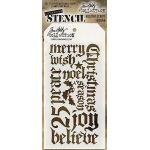 Stampers Anonymous - Tim Holtz - Holiday Script Stencil