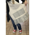 Canvas Corp - Vintage Apron with Navy and Cream Ruffle