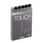 ShinHan Art TOUCH Twin Grey Colors 6-Piece Marker Set: Black, Black/Gray, Double-Ended, Alcohol-Based, Refillable, Dual, (model 1100604), price per set