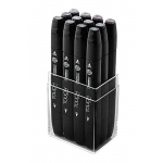 ShinHan Art TOUCH Twin 12-Piece Warm Grey Marker Set; Barrel Color: Black; Color: Black/Gray; Double-Ended: Yes; Ink Type: Alcohol-Based; Refillable: Yes; Tip Type: Dual; (model 1101201), price per set