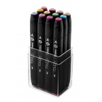 ShinHan Art TOUCH Twin 12-Piece Pastel Colors Marker Set; Barrel Color: Black; Double-Ended: Yes; Ink Type: Alcohol-Based; Refillable: Yes; Tip Type: Dual; (model 1101216), price per set