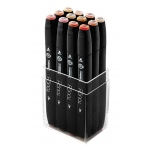 ShinHan Art TOUCH Twin 12-Piece Skin Tones Marker Set; Barrel Color: Black; Double-Ended: Yes; Ink Type: Alcohol-Based; Refillable: Yes; Tip Type: Dual; (model 1101222), price per set