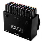 ShinHan Art TOUCH Twin 48-Color Fine & Broad Nib Marker Set; Barrel Color: Black; Double-Ended: Yes; Ink Type: Alcohol-Based; Refillable: Yes; Tip Type: Dual; (model 1104800), price per set