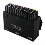 ShinHan Art TOUCH Twin 60-Color Fine & Broad Nib Marker Set A; Barrel Color: Black; Double-Ended: Yes; Ink Type: Alcohol-Based; Refillable: Yes; Tip Type: Dual; (model 1106030), price per set