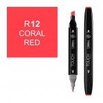 ShinHan Art TOUCH Twin Coral Red Marker; Barrel Color: Black; Color: Red/Pink; Double-Ended: Yes; Ink Type: Alcohol-Based; Refillable: Yes; Tip Type: Dual; (model 1110012-R12), price per each