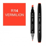 ShinHan Art TOUCH Twin Vermilion Marker; Barrel Color: Black; Color: Red/Pink; Double-Ended: Yes; Ink Type: Alcohol-Based; Refillable: Yes; Tip Type: Dual; (model 1110014-R14), price per each